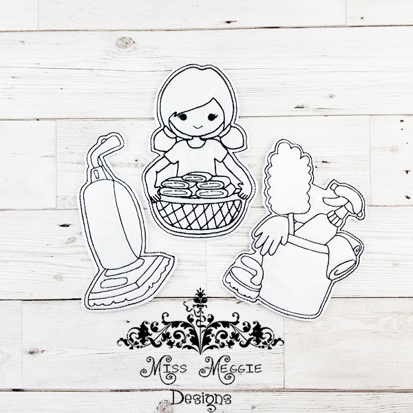 Chores Coloring Doll Set Ith Embroidery Design File Miss