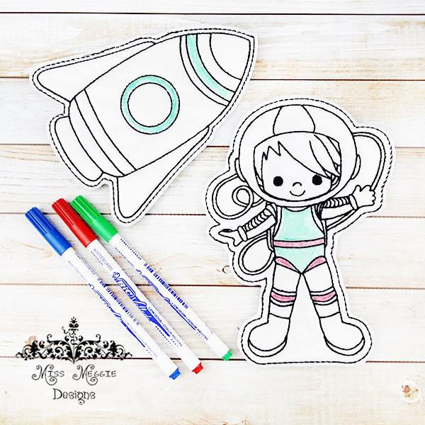 Astronaut Rocket Coloring Doll Set Ith Embroidery Design