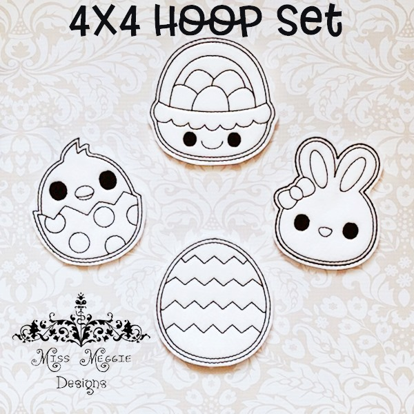 Coloring Dolls Flat 4x4 Egg Hunt Spring Ith Embroidery