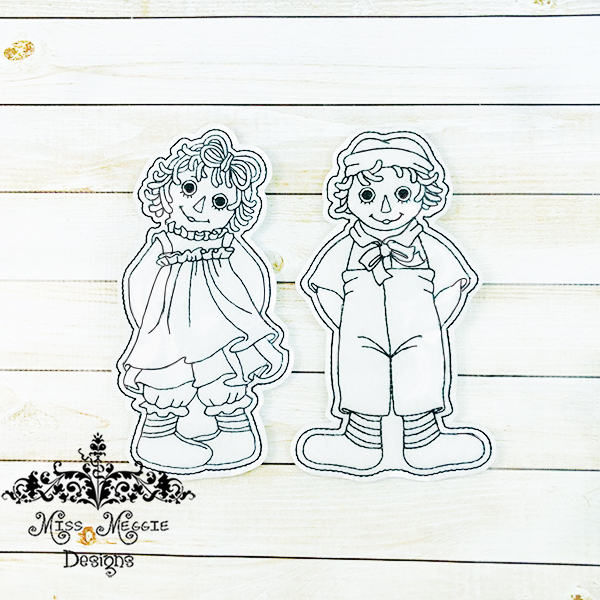 Raggy Annie And Andy Flat Coloring Doll Set Ith Embroidery