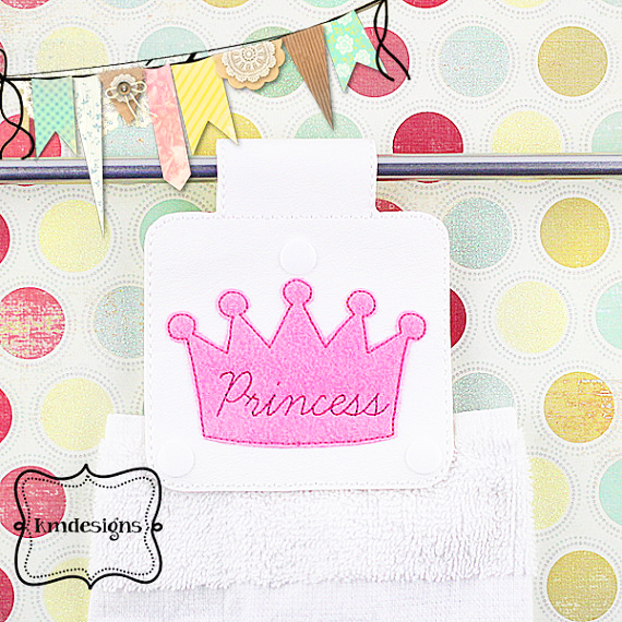 Princess Hand Towel Holder Ith Embroidery Design File